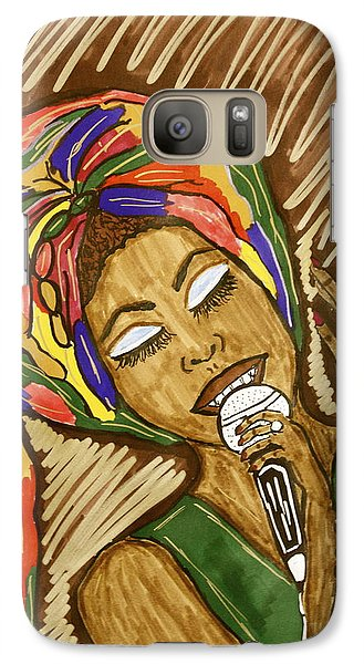 Galaxy Case featuring the drawing Ms. Badu by Chrissy  Pena