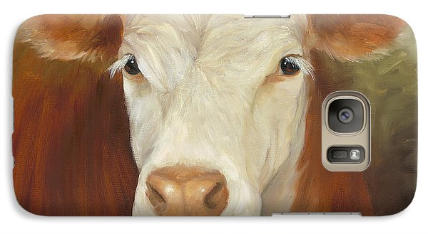 Galaxy Case featuring the painting Ms Sophie - Cow Painting by Cheri Wollenberg