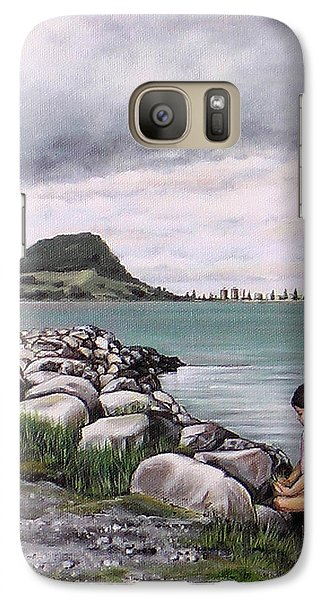 Galaxy Case featuring the painting Mt Maunganui 140408 by Sylvia Kula