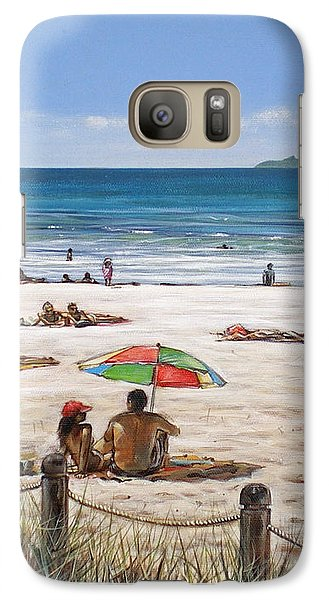 Galaxy Case featuring the painting Mt Maunganui Beach 090209 by Sylvia Kula