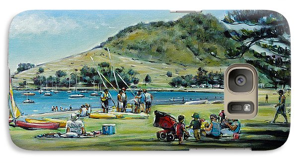 Galaxy Case featuring the painting Mt Maunganui Pilot Bay 201210 by Selena Boron