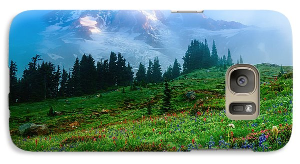 Galaxy Case featuring the photograph Mt. Rainier And Wildflowers by Chris McKenna