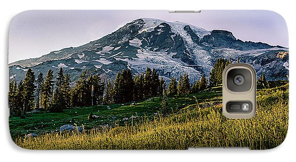 Galaxy Case featuring the photograph Mt Rainier With Purple Sky by Chris McKenna