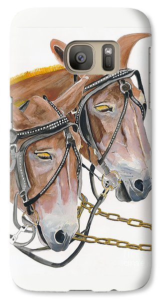 Galaxy Case featuring the painting Mules - Two - Beast Of Burden by Jan Dappen