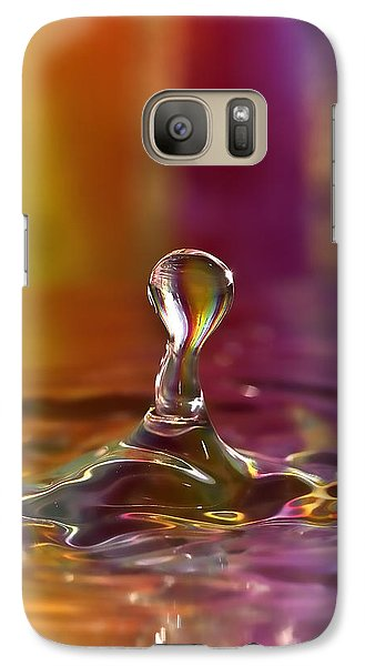 Galaxy Case featuring the photograph Multi Colored Water Drop by Linda Blair
