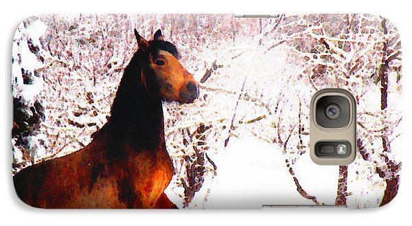 Galaxy Case featuring the photograph Mustang In April Snow by Anastasia Savage Ealy
