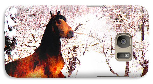 Galaxy Case featuring the photograph Mustang In April Snow Luminosa by Anastasia Savage Ealy