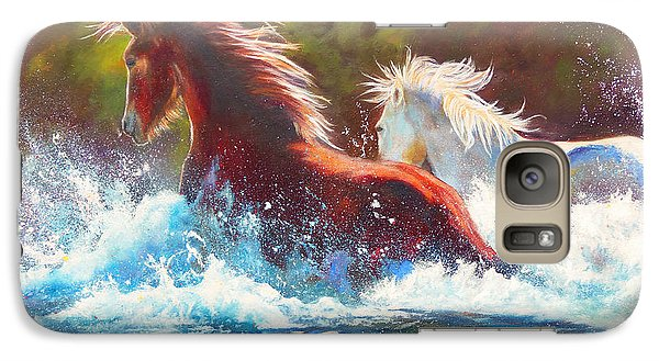 Galaxy Case featuring the painting Mustang Splash by Karen Kennedy Chatham