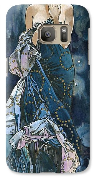 Galaxy Case featuring the painting My Acrylic Painting As An Interpretation Of The Famous Artwork Of Alphonse Mucha - Moon - by Elena Yakubovich
