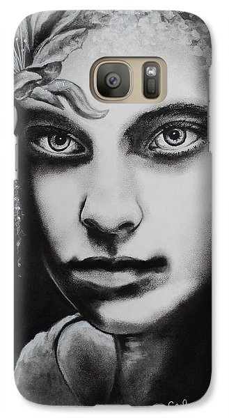 Galaxy Case featuring the drawing My Beautiful Belladonna by Carla Carson