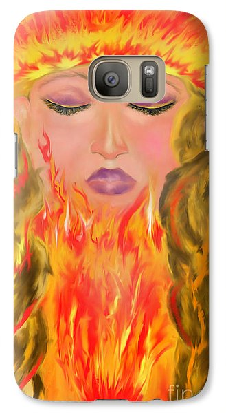 Galaxy Case featuring the painting My Burning Within by Lori  Lovetere