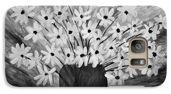 Galaxy Case featuring the painting My Daisies Black And White Version by Ramona Matei