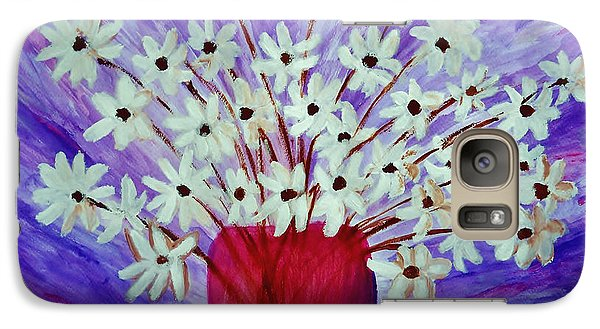 Galaxy Case featuring the painting My Daisies Blue Version by Ramona Matei