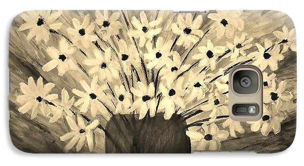 Galaxy Case featuring the painting My Daisies Sepia Version by Ramona Matei
