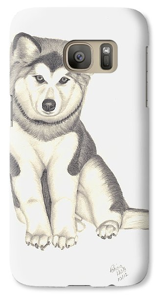 Galaxy Case featuring the drawing My Husky Puppy-misty by Patricia Hiltz
