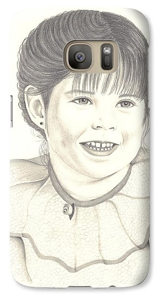 Galaxy Case featuring the drawing My Little Girl by Patricia Hiltz