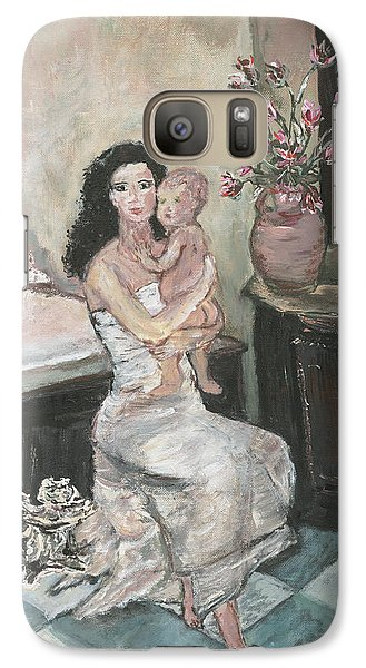 Galaxy Case featuring the painting My Little Soul by Helena Bebirian