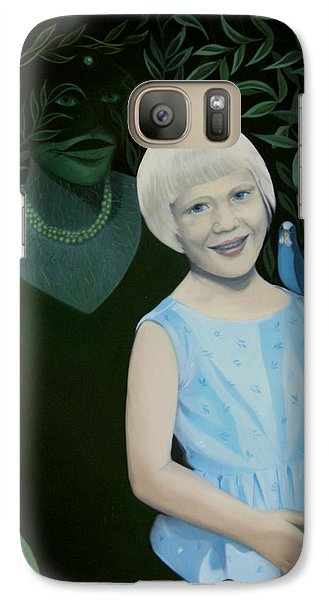 Galaxy Case featuring the painting My Mother And I - And My Little Bird Pelle by Tone Aanderaa