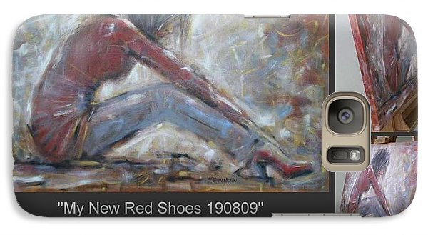 Galaxy Case featuring the painting My New Red Shoes 190809 by Selena Boron