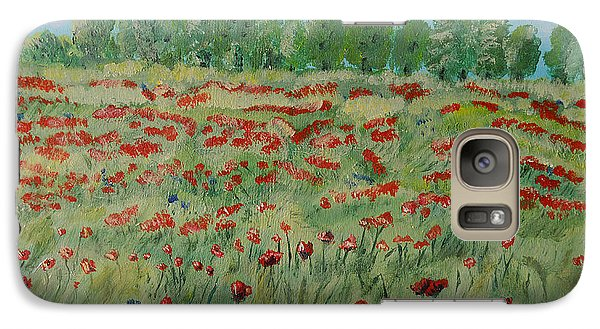 Galaxy Case featuring the painting My Poppies Field by Felicia Tica