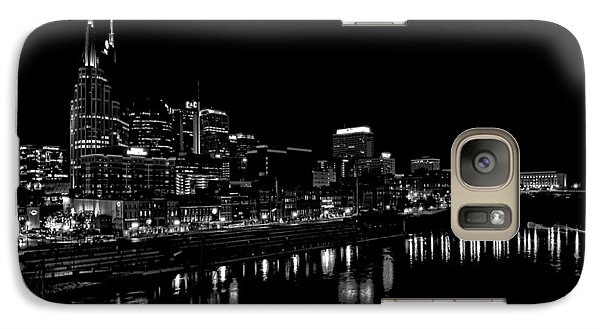 Nashville Skyline At Night In Black And White Galaxy S7 Case by Dan Sproul
