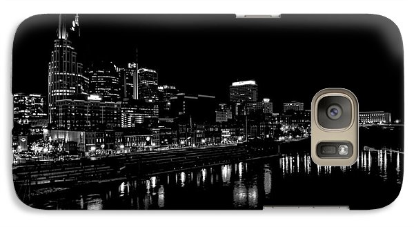 Nashville Skyline At Night In Black And White Galaxy Case by Dan Sproul