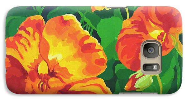 Galaxy Case featuring the painting Nasturtiums by Karen Ilari