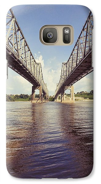Galaxy Case featuring the photograph Natchez Bridges Crossing The Mississippi by Ray Devlin