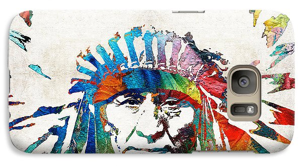 Bull Galaxy S7 Case - Native American Art - Chief - By Sharon Cummings by Sharon Cummings