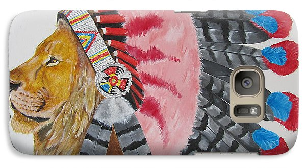 Galaxy Case featuring the painting Native American Lion by Jeepee Aero