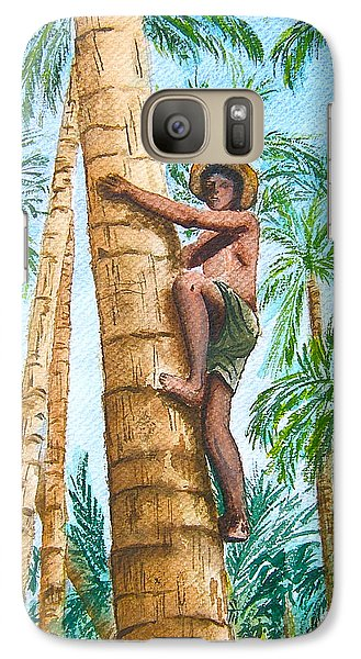 Galaxy Case featuring the painting Native Climbing Palm Tree by Val Miller