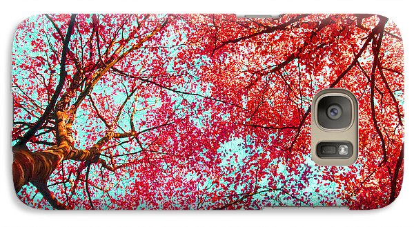 Galaxy Case featuring the photograph Abstract Red Blue Nature Photography by Artecco Fine Art Photography