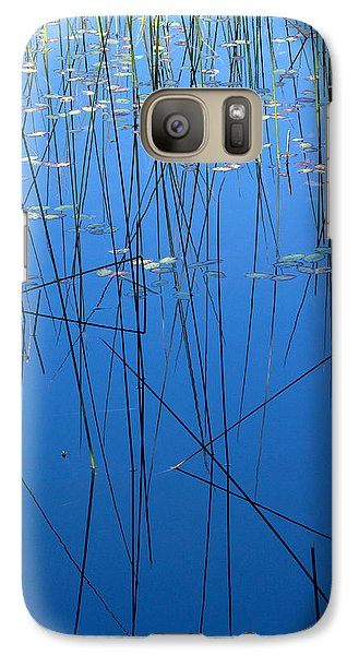 Galaxy Case featuring the photograph Nature's Abstract In Blue 1 by Peggy Collins