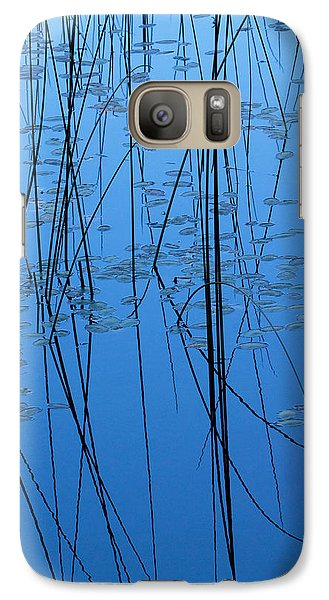 Galaxy Case featuring the photograph Nature's Abstract In Blue 2 by Peggy Collins