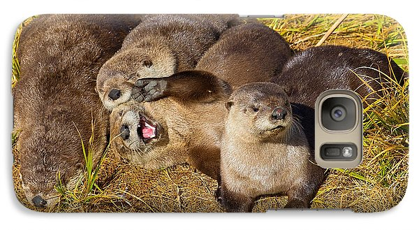 Galaxy Case featuring the photograph Naughty Otters by Aaron Whittemore