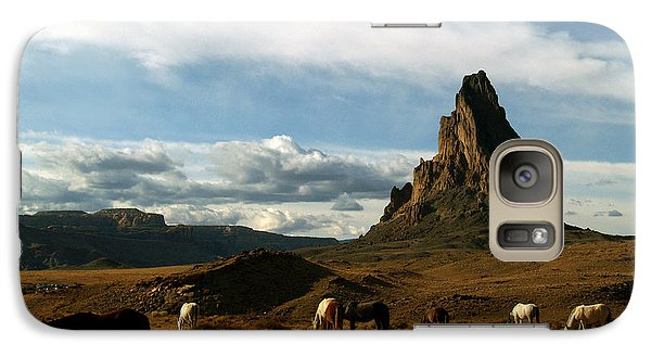Galaxy Case featuring the photograph Navajo Horses At El Capitan by Jeff Brunton