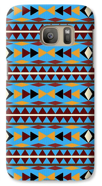 Navajo Blue Pattern Galaxy Case by Christina Rollo