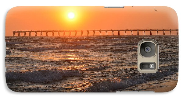 Galaxy Case featuring the photograph Navarre Beach And Pier Sunset Colors With Birds And Waves by Jeff at JSJ Photography