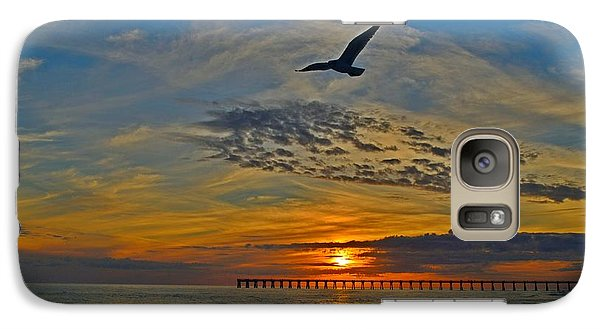 Galaxy Case featuring the photograph Navarre Beach And Pier Sunset Colors With Gulls And Waves by Jeff at JSJ Photography