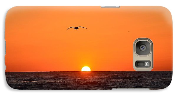 Galaxy Case featuring the photograph Navarre Beach Sunrise Waves And Bird by Jeff at JSJ Photography
