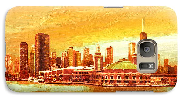 Galaxy Case featuring the painting Navy Pier Chicago --autumn by Doug Kreuger