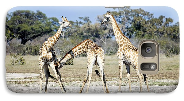 Galaxy Case featuring the photograph Necking Giraffes Botswana by Liz Leyden
