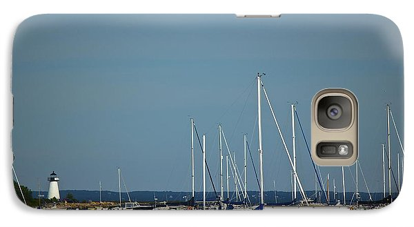 Galaxy Case featuring the photograph Ned's Point Lighthouse With Sailboats by Amazing Jules