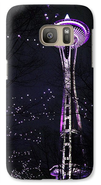 Galaxy Case featuring the photograph Needle In Purple by Sonya Lang