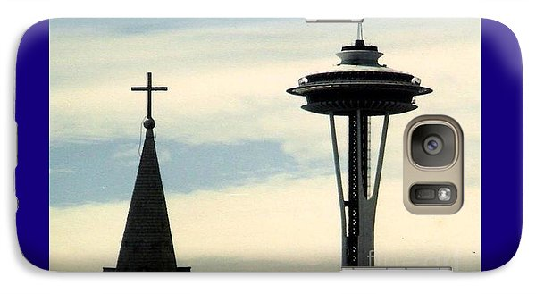 Galaxy Case featuring the photograph Seattle Washington Space  Needle Steeple And Cross by Michael Hoard
