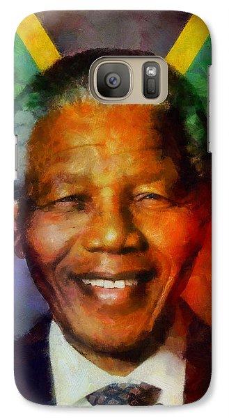 Galaxy Case featuring the digital art Nelson Mandela 1918-2013 by Kai Saarto