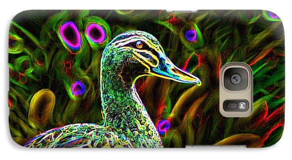 Galaxy Case featuring the photograph Neon Duck by Naomi Burgess