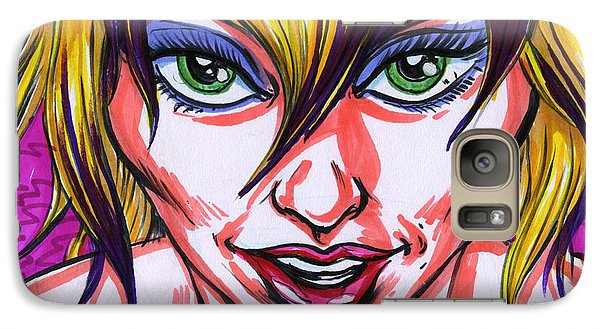 Galaxy Case featuring the drawing Neon Nymph by John Ashton Golden