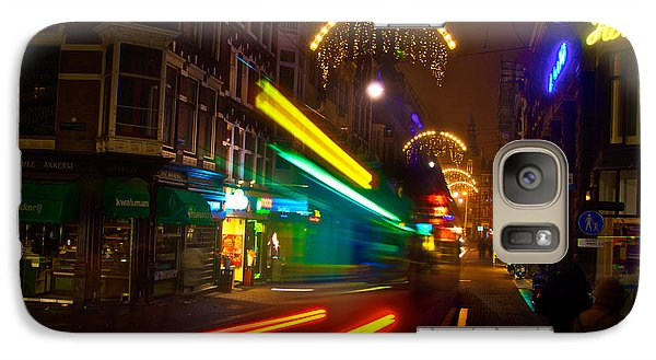 Galaxy Case featuring the photograph Neon Tram Leidestraat by Jonah  Anderson