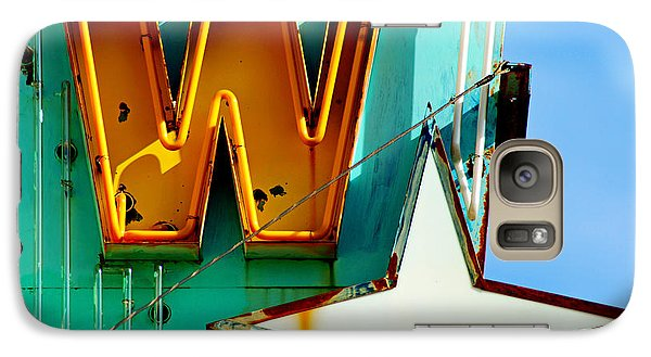 Galaxy Case featuring the photograph Neon W - The West Theater by Daniel Woodrum
